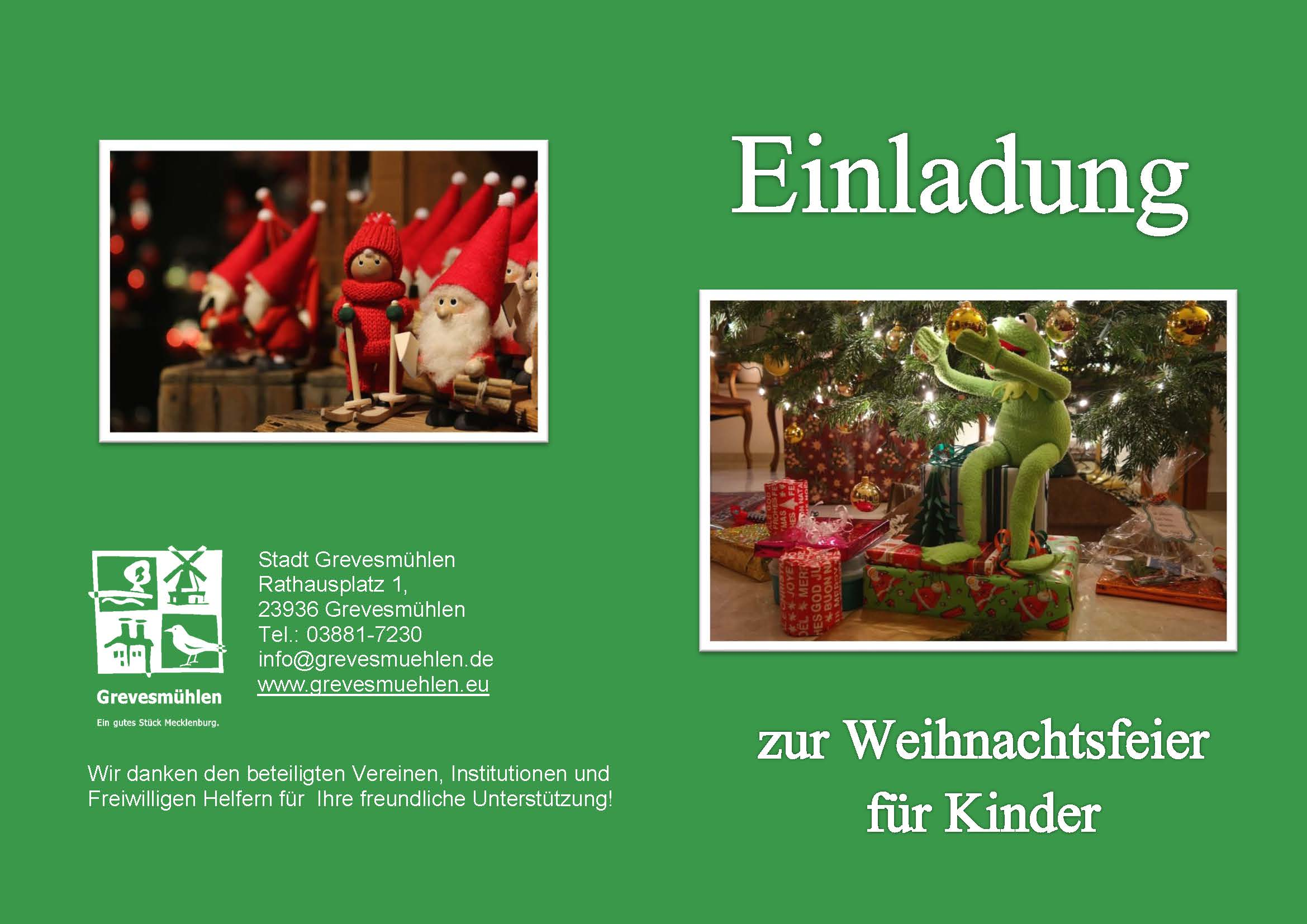 einladung zur weihnachtsfeier f r kinder in grevesm hlen. Black Bedroom Furniture Sets. Home Design Ideas