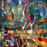 3Ölbild, Elemente der Zeit im Spiegel der Resonanz, 04.2010 90x90 cm